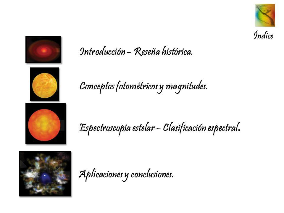 Índice Introducción – Reseña histórica. Conceptos fotométricos y magnitudes. Espectroscopia estelar – Clasificación espectral. Aplicaciones y conclusi