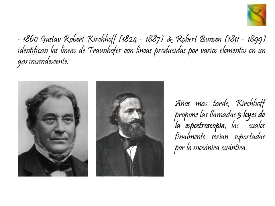 - 1860 Gustav Robert Kirchhoff (1824 - 1887) & Robert Bunsen (1811 - 1899) identifican las líneas de Fraunhofer con líneas producidas por varios eleme