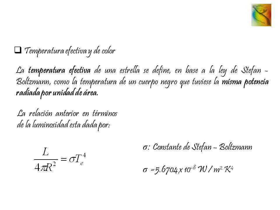 Temperatura efectiva y de color La temperatura efectiva de una estrella se define, en base a la ley de Stefan - Boltzmann, como la temperatura de un c
