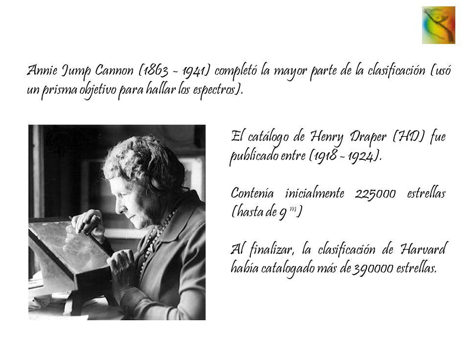 Annie Jump Cannon (1863 - 1941) completó la mayor parte de la clasificación (usó un prisma objetivo para hallar los espectros). El catálogo de Henry D
