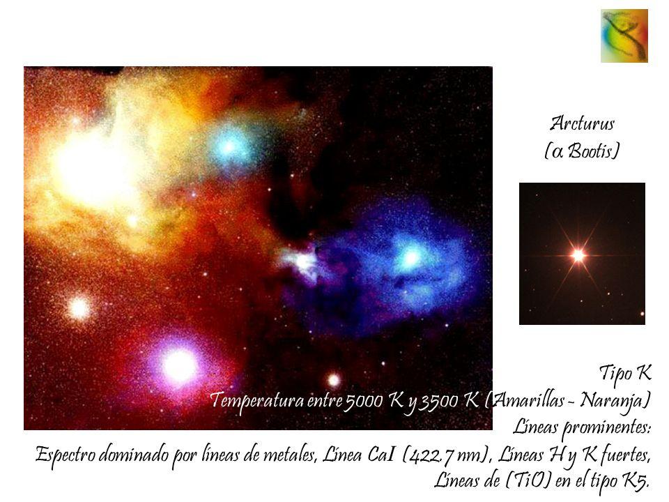 Arcturus ( α Bootis) Tipo K Temperatura entre 5000 K y 3500 K (Amarillas - Naranja) Líneas prominentes: Espectro dominado por líneas de metales, Línea