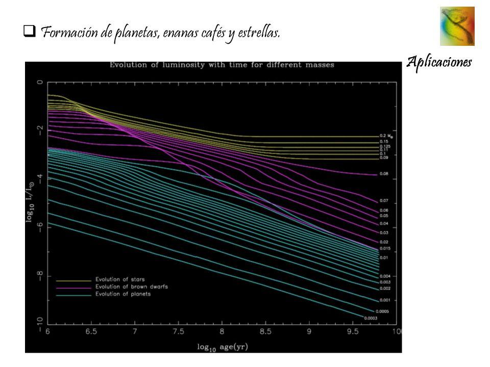 Formación de planetas, enanas cafés y estrellas. Aplicaciones