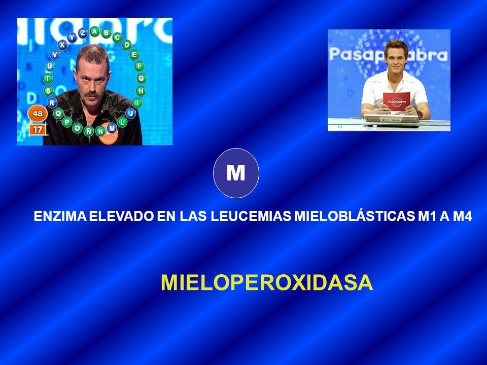 M ENZIMA ELEVADO EN LAS LEUCEMIAS MIELOBLÁSTICAS M1 A M4 MIELOPEROXIDASA
