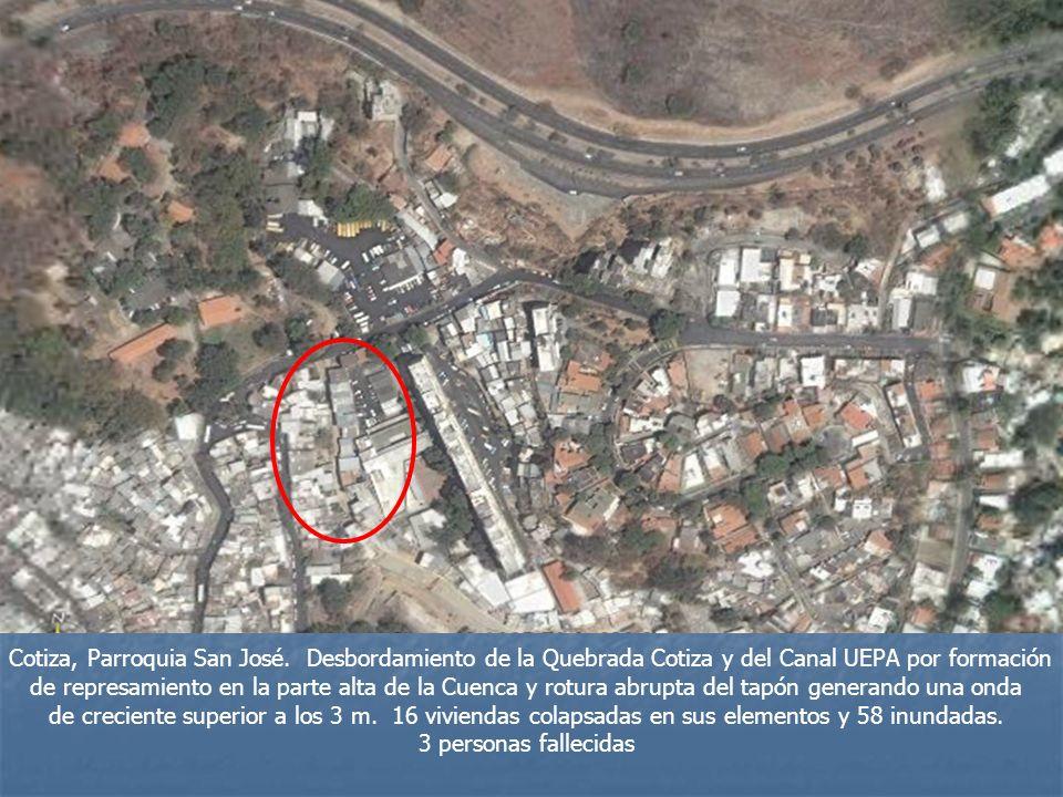 Cotiza, Parroquia San José. Desbordamiento de la Quebrada Cotiza y del Canal UEPA por formación de represamiento en la parte alta de la Cuenca y rotur