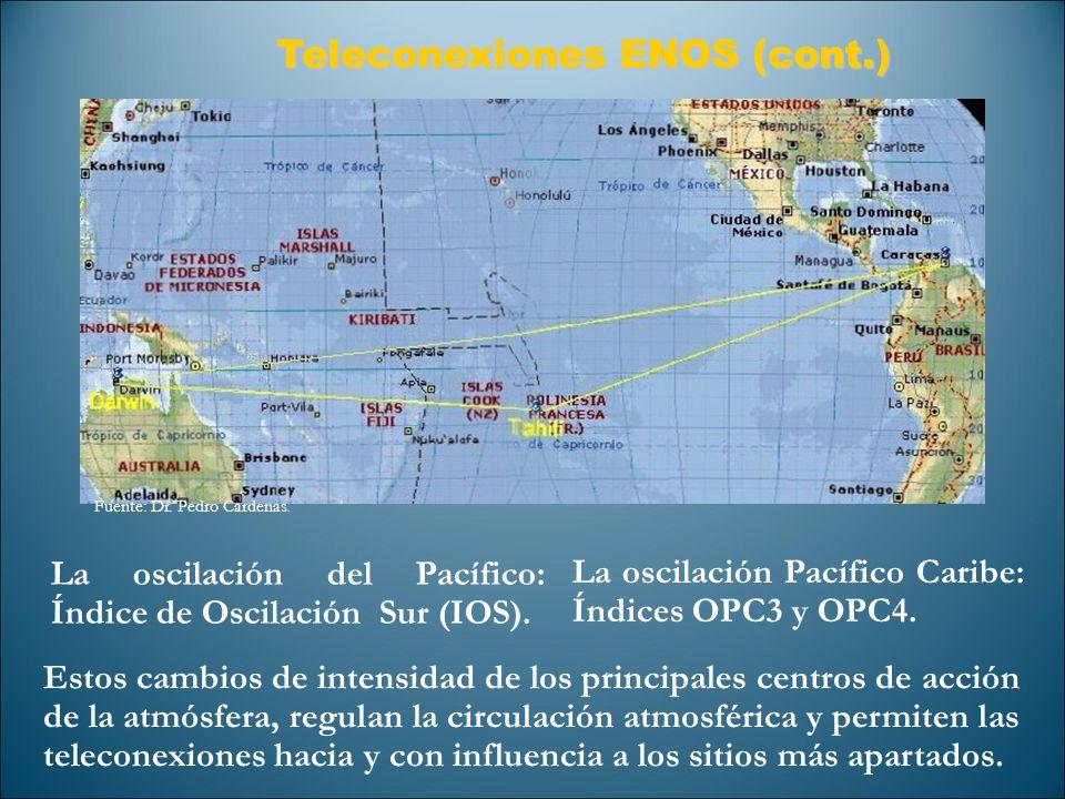 Teleconexiones ENOS (cont.) Teleconexiones ENOS (cont.) La oscilación del Pacífico: Índice de Oscilación Sur (IOS). La oscilación Pacífico Caribe: Índ