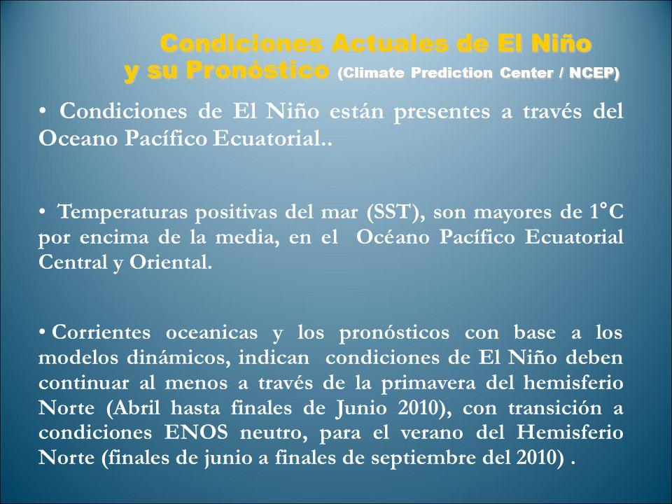 Condiciones de El Niño están presentes a través del Oceano Pacífico Ecuatorial.. Temperaturas positivas del mar (SST), son mayores de 1°C por encima d