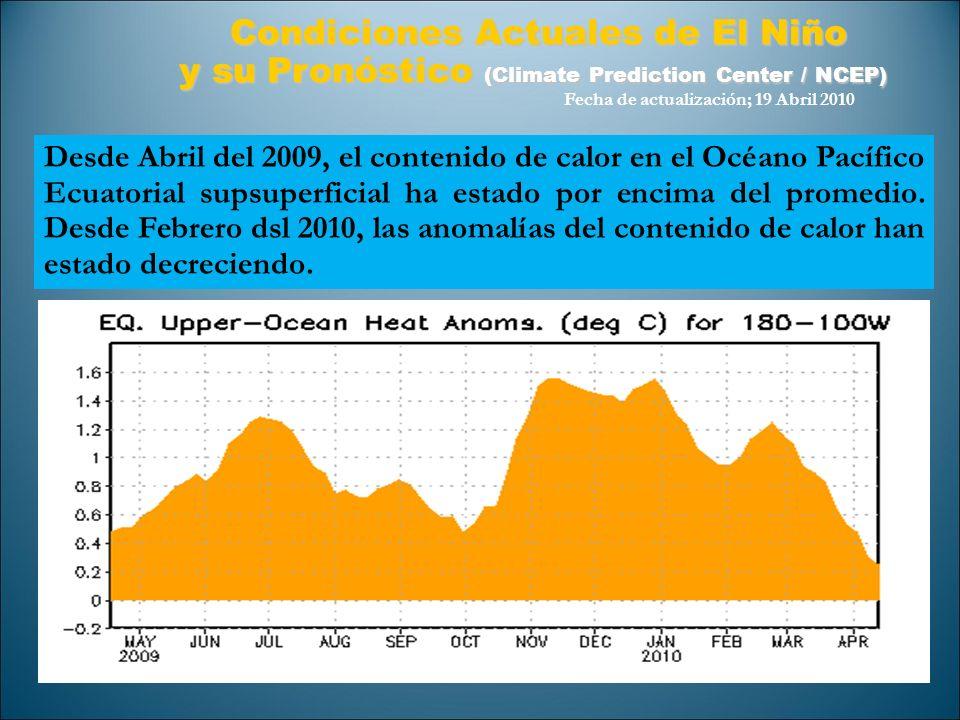 Desde Abril del 2009, el contenido de calor en el Océano Pacífico Ecuatorial supsuperficial ha estado por encima del promedio. Desde Febrero dsl 2010,
