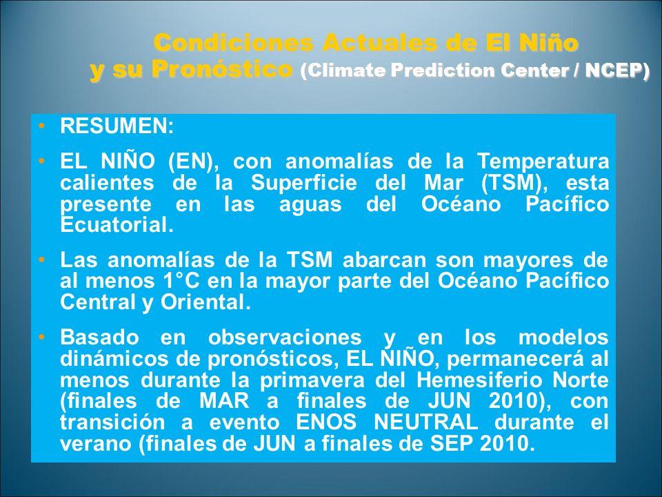 Condiciones Actuales de El Niño y su Pronóstico (Climate Prediction Center / NCEP) y su Pronóstico (Climate Prediction Center / NCEP) RESUMEN: EL NIÑO