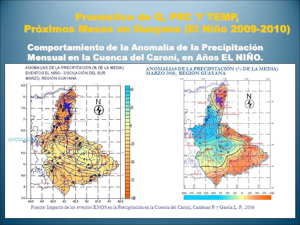 Comportamiento de la Anomalía de la Precipitación Mensual en la Cuenca del Caroní, en Años EL NIÑO. Pronóstico de Q, PRC Y TEMP, Próximos Meses en Gua