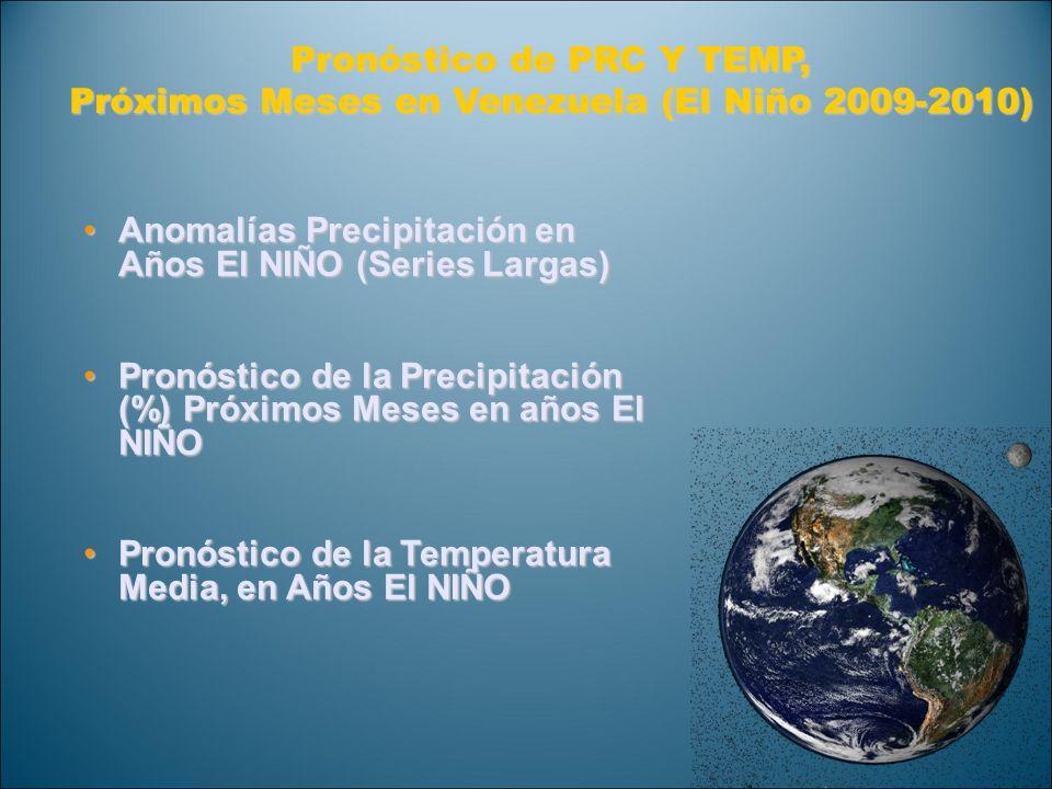 Pronóstico de PRC Y TEMP, Próximos Meses en Venezuela (El Niño 2009-2010) Anomalías Precipitación en Años El NIÑO (Series Largas)Anomalías Precipitaci