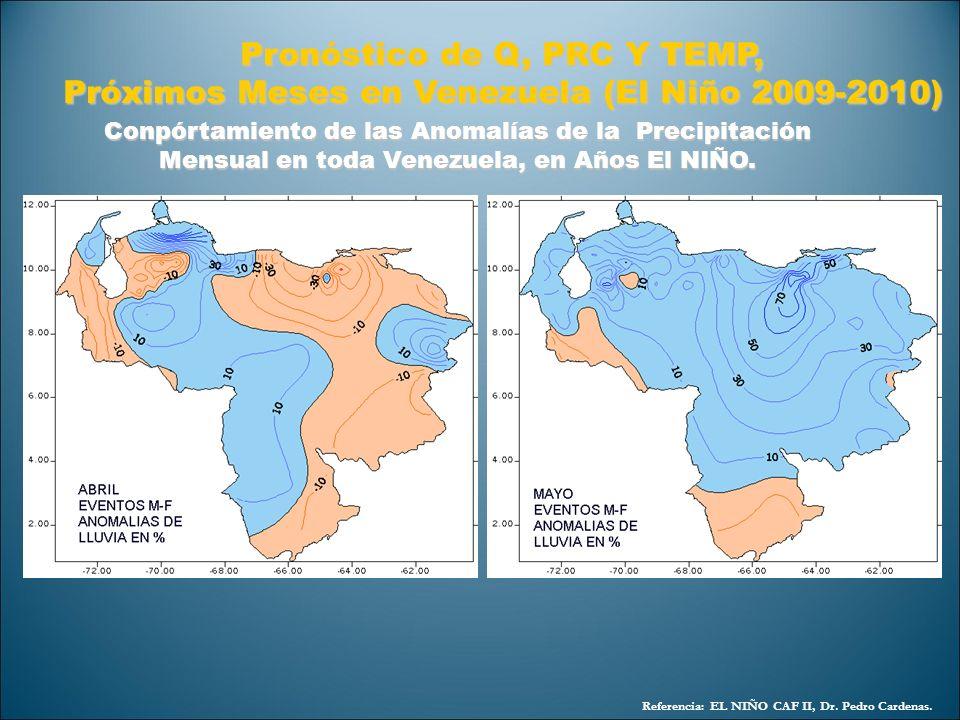 Referencia: EL NIÑO CAF II, Dr. Pedro Cardenas. Pronóstico de Q, PRC Y TEMP, Próximos Meses en Venezuela (El Niño 2009-2010) Conpórtamiento de las Ano