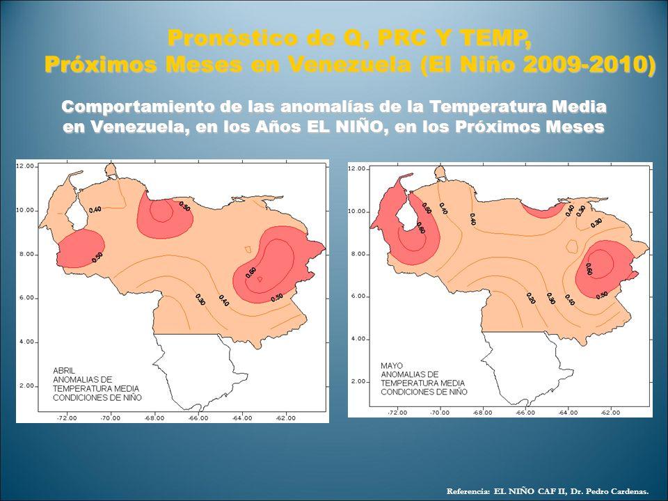 Referencia: EL NIÑO CAF II, Dr. Pedro Cardenas. Pronóstico de Q, PRC Y TEMP, Próximos Meses en Venezuela (El Niño 2009-2010) Comportamiento de las ano