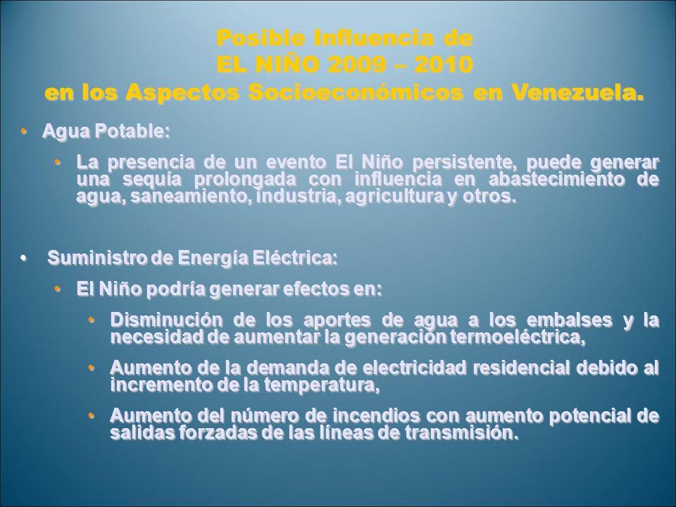 Posible Influencia de EL NIÑO 2009 – 2010 en los Aspectos Socioeconómicos en Venezuela. Agua Potable:Agua Potable: La presencia de un evento El Niño p