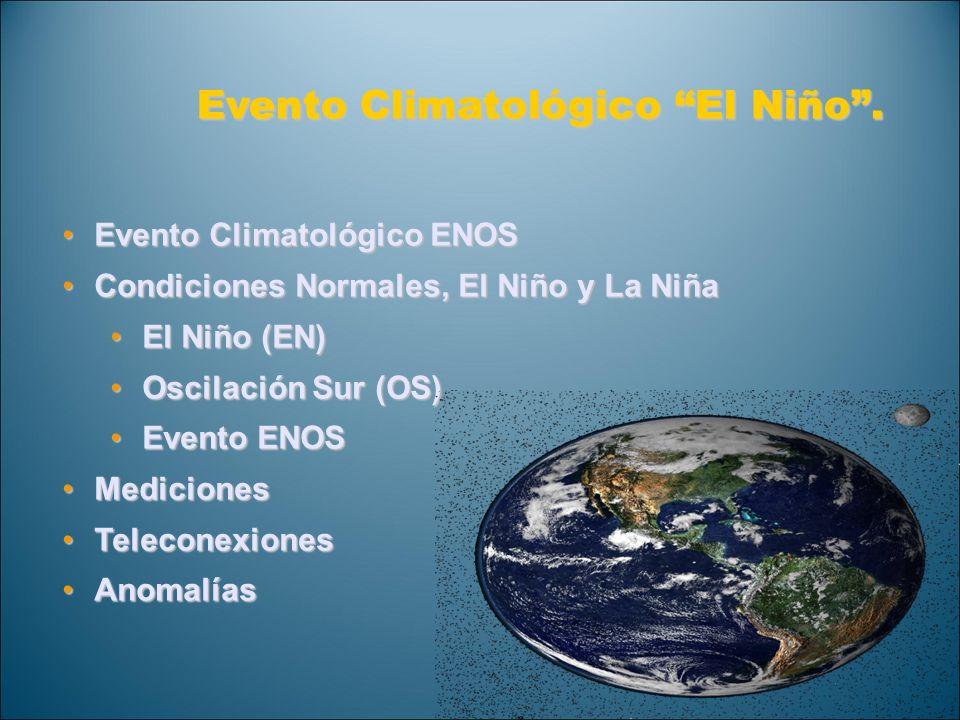 Anomalías Climáticas durante El ENOS El Niño Dic a Feb El Niño Jun a Ago La Niña Dic a Feb La Niña Jun a Ago Seco Seco y caliente Humedo y Frio (Climate Prediction Center / NCEP)