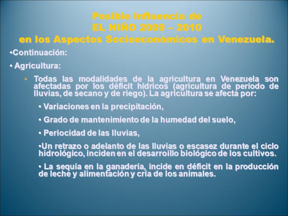 Posible Influencia de EL NIÑO 2009 – 2010 en los Aspectos Socioeconómicos en Venezuela. Continuación: Continuación: Agricultura: Agricultura: Todas la