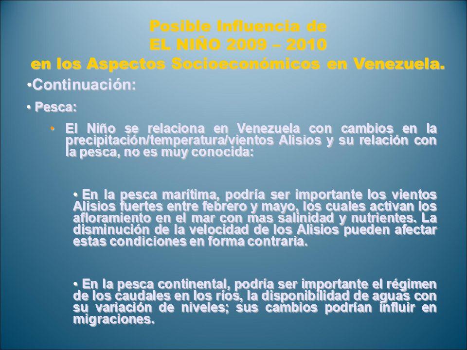 Posible Influencia de EL NIÑO 2009 – 2010 en los Aspectos Socioeconómicos en Venezuela. Continuación: Continuación: Pesca: Pesca: El Niño se relaciona