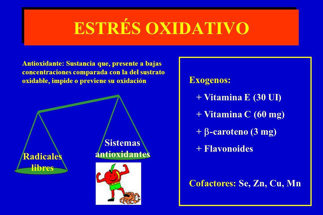 ESTRÉS OXIDATIVO Radicales libres Sistemas antioxidantes Exogenos: + Vitamina E (30 UI) + Vitamina C (60 mg) + -caroteno (3 mg) + Flavonoides Cofactores: Se, Zn, Cu, Mn Antioxidante: Sustancia que, presente a bajas concentraciones comparada con la del sustrato oxidable, impide o previene su oxidación