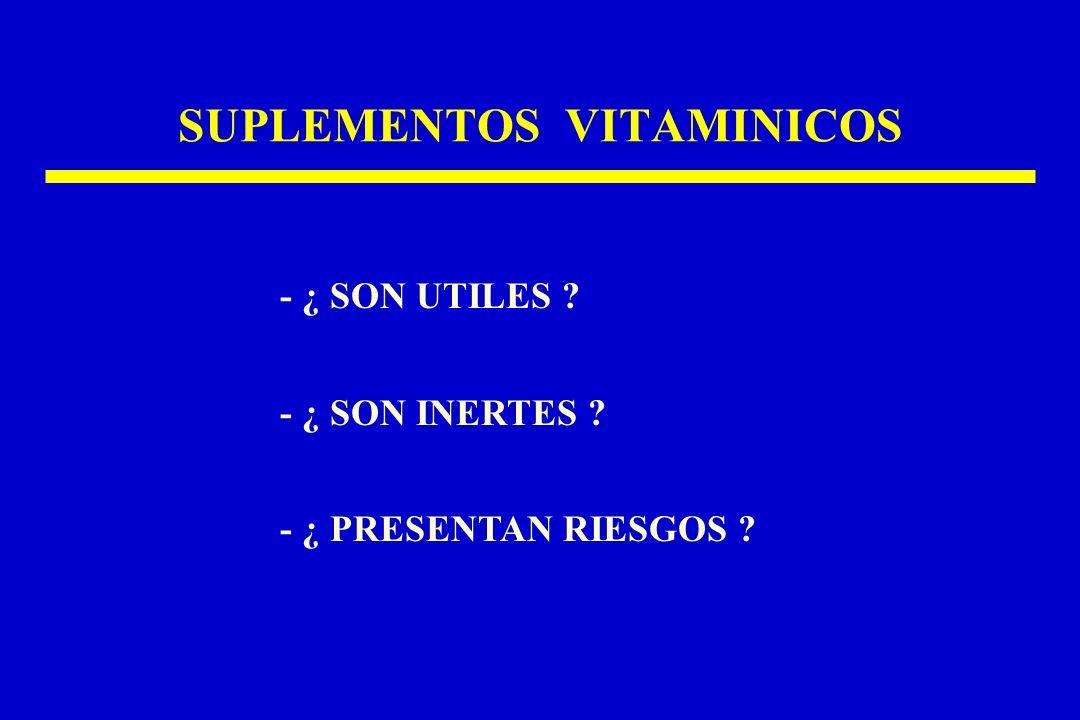 SUPLEMENTOS VITAMINICOS - ¿ SON UTILES ? - ¿ SON INERTES ? - ¿ PRESENTAN RIESGOS ?