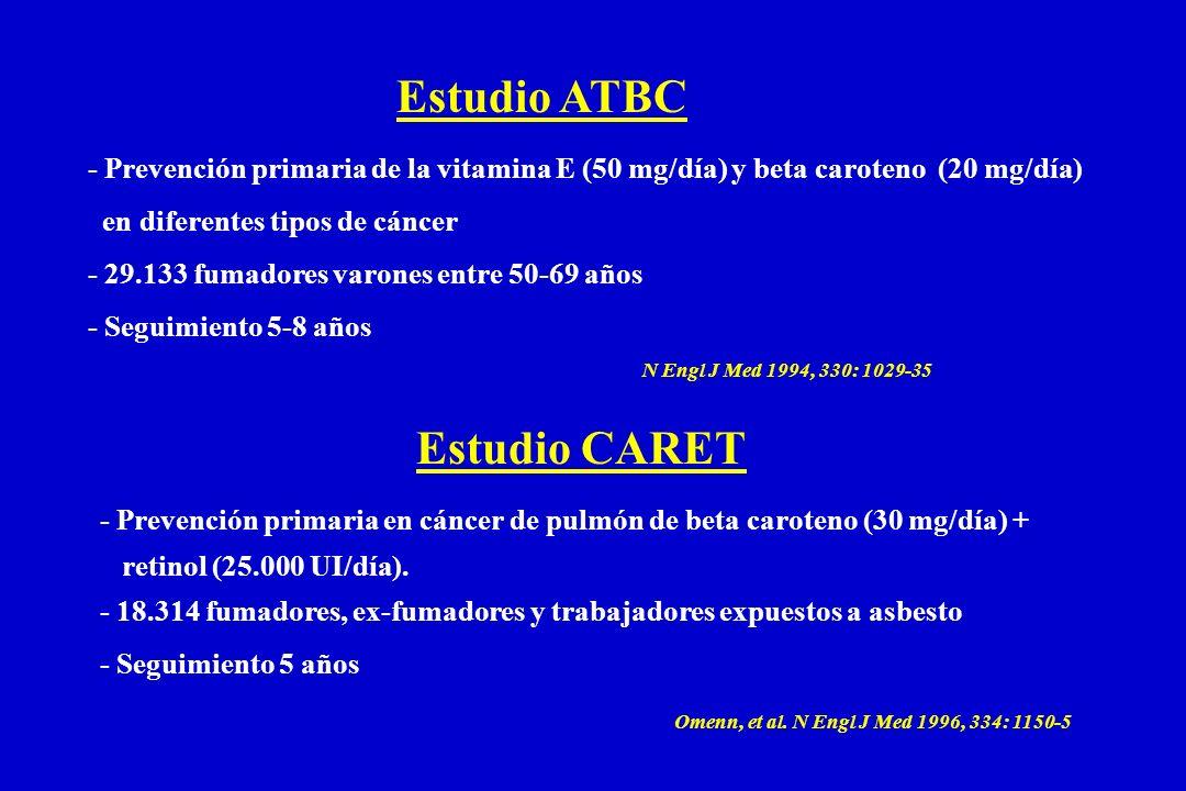 Estudio ATBC - Prevención primaria de la vitamina E (50 mg/día) y beta caroteno (20 mg/día) en diferentes tipos de cáncer - 29.133 fumadores varones entre 50-69 años - Seguimiento 5-8 años Estudio CARET - Prevención primaria en cáncer de pulmón de beta caroteno (30 mg/día) + retinol (25.000 UI/día).