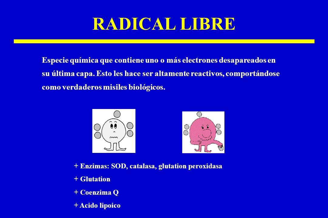 RADICAL LIBRE Especie química que contiene uno o más electrones desapareados en su última capa. Esto les hace ser altamente reactivos, comportándose c