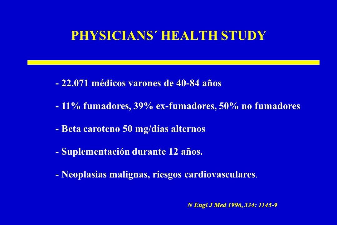 PHYSICIANS´ HEALTH STUDY - 22.071 médicos varones de 40-84 años - 11% fumadores, 39% ex-fumadores, 50% no fumadores - Beta caroteno 50 mg/días alternos - Suplementación durante 12 años.