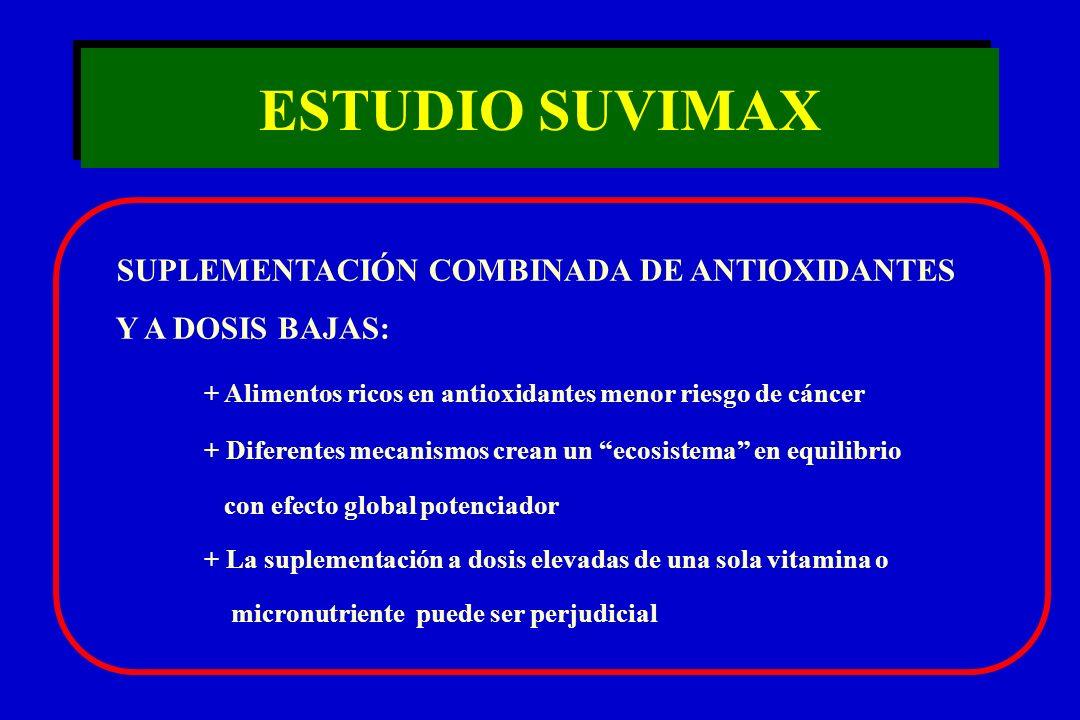 ESTUDIO SUVIMAX SUPLEMENTACIÓN COMBINADA DE ANTIOXIDANTES Y A DOSIS BAJAS: + Alimentos ricos en antioxidantes menor riesgo de cáncer + Diferentes meca