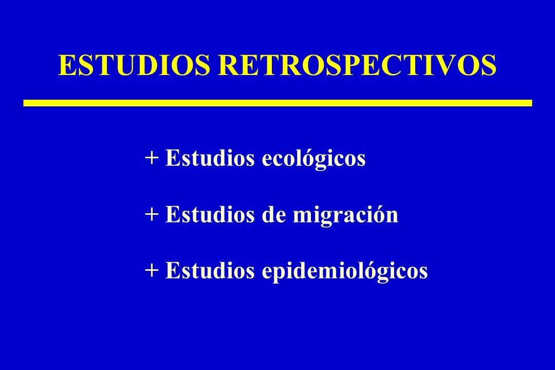 ESTUDIOS RETROSPECTIVOS + Estudios ecológicos + Estudios de migración + Estudios epidemiológicos