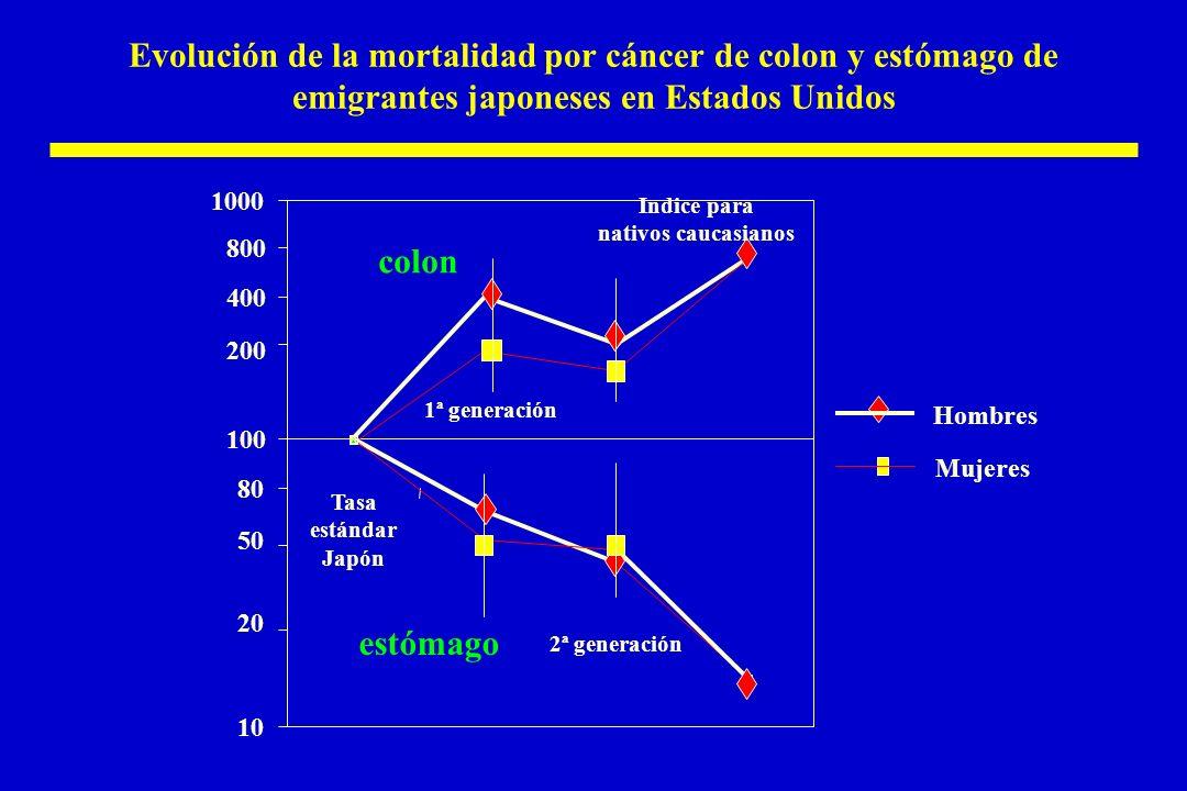 Evolución de la mortalidad por cáncer de colon y estómago de emigrantes japoneses en Estados Unidos Hombres Mujeres 10 20 50 80 100 200 400 800 1000 Tasa estándar Japón 1ª generación 2ª generación Indice para nativos caucasianos colon estómago