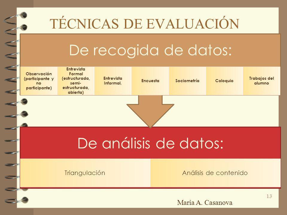 TÉCNICAS DE EVALUACIÓN De análisis de datos: TriangulaciónAnálisis de contenido De recogida de datos: Observación (participante y no participante) Ent