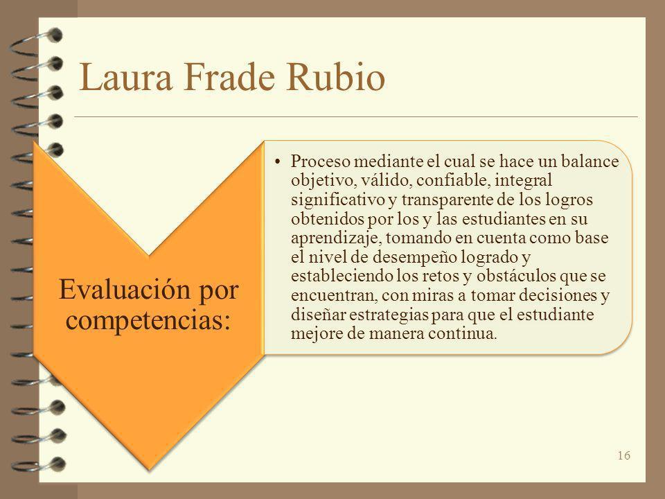 Laura Frade Rubio Evaluación por competencias: Proceso mediante el cual se hace un balance objetivo, válido, confiable, integral significativo y trans