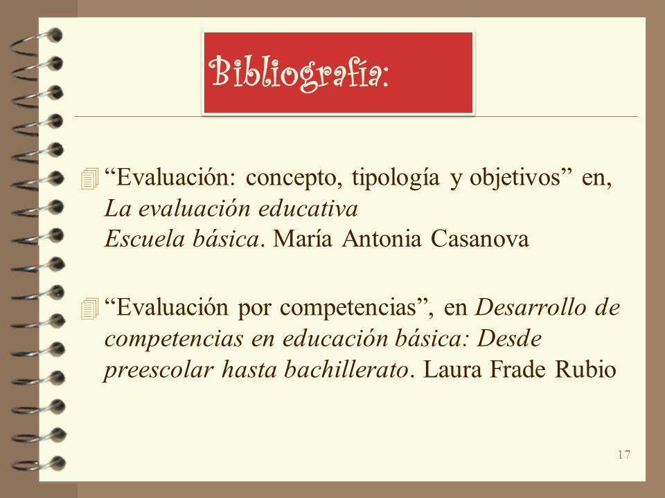 Bibliografía: 4 Evaluación: concepto, tipología y objetivos en, La evaluación educativa Escuela básica. María Antonia Casanova 4 Evaluación por compet