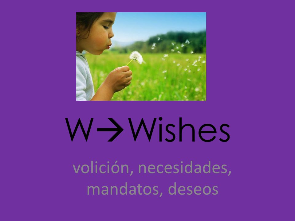 W Wishes volición, necesidades, mandatos, deseos