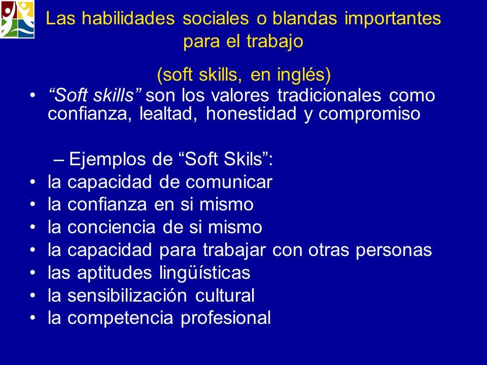 Las habilidades sociales o blandas importantes para el trabajo (soft skills, en inglés) Soft skills son los valores tradicionales como confianza, leal