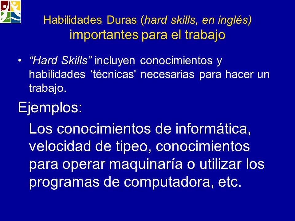 Habilidades Duras (hard skills, en inglés) importantes para el trabajo Hard Skills incluyen conocimientos y habilidades técnicas' necesarias para hace