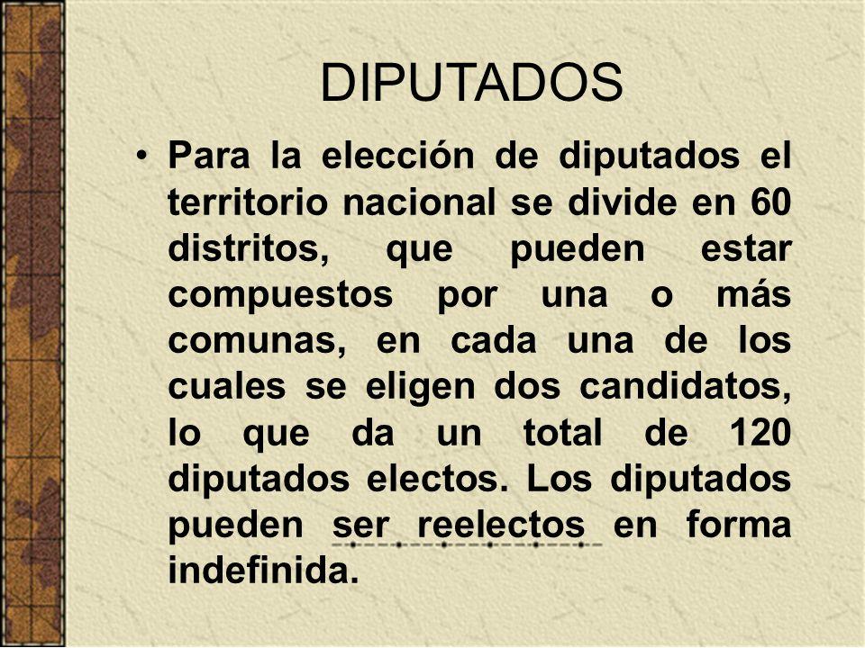 DIPUTADOS Para la elección de diputados el territorio nacional se divide en 60 distritos, que pueden estar compuestos por una o más comunas, en cada u
