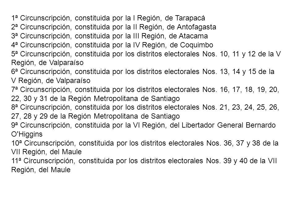 1ª Circunscripción, constituida por la I Región, de Tarapacá 2ª Circunscripción, constituida por la II Región, de Antofagasta 3ª Circunscripción, cons