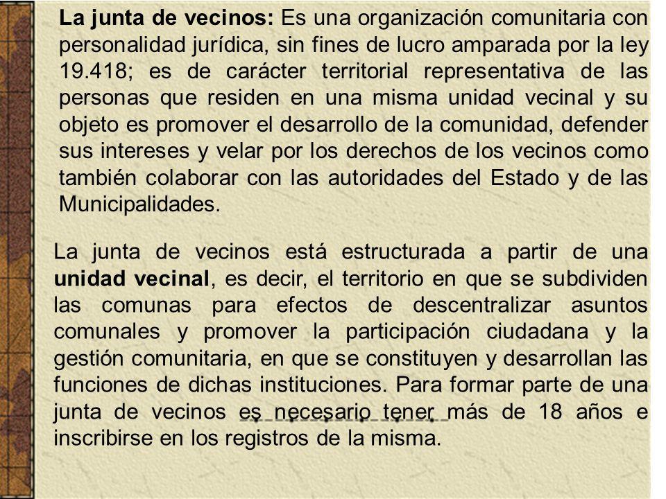 La junta de vecinos: Es una organización comunitaria con personalidad jurídica, sin fines de lucro amparada por la ley 19.418; es de carácter territor