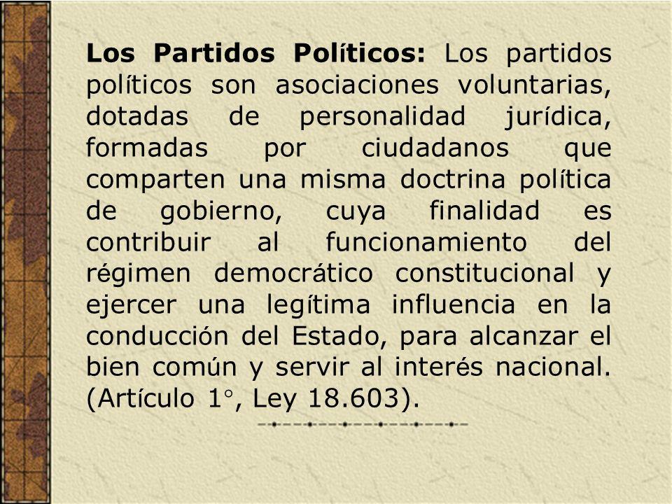 Los Partidos Pol í ticos: Los partidos pol í ticos son asociaciones voluntarias, dotadas de personalidad jur í dica, formadas por ciudadanos que compa