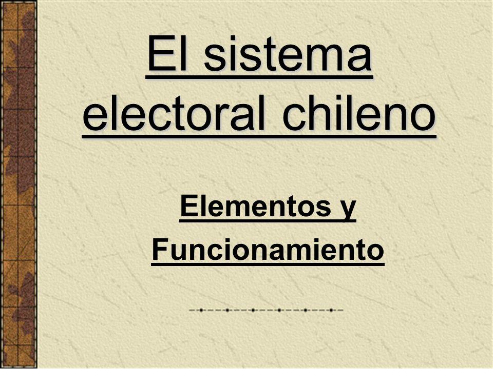 El sistema electoral chileno Elementos y Funcionamiento