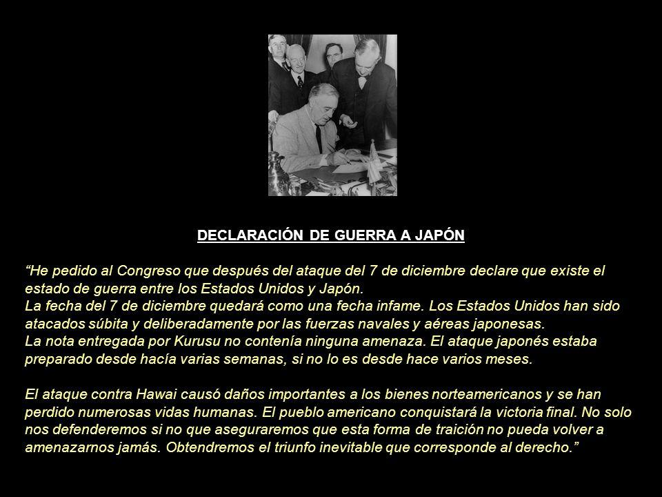 SOLUCIÓN (08/12/1941) DECLARACIÓN DE GUERRA Franklin D. Roosvelt (26/10/2001) USA PATRIOT ACT - Declaración de Guerra contra el Terror - George Bush