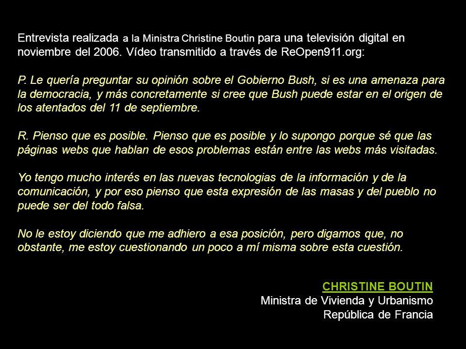 CHRISTINE BOUTIN Ministra de Vivienda y Urbanismo República de Francia