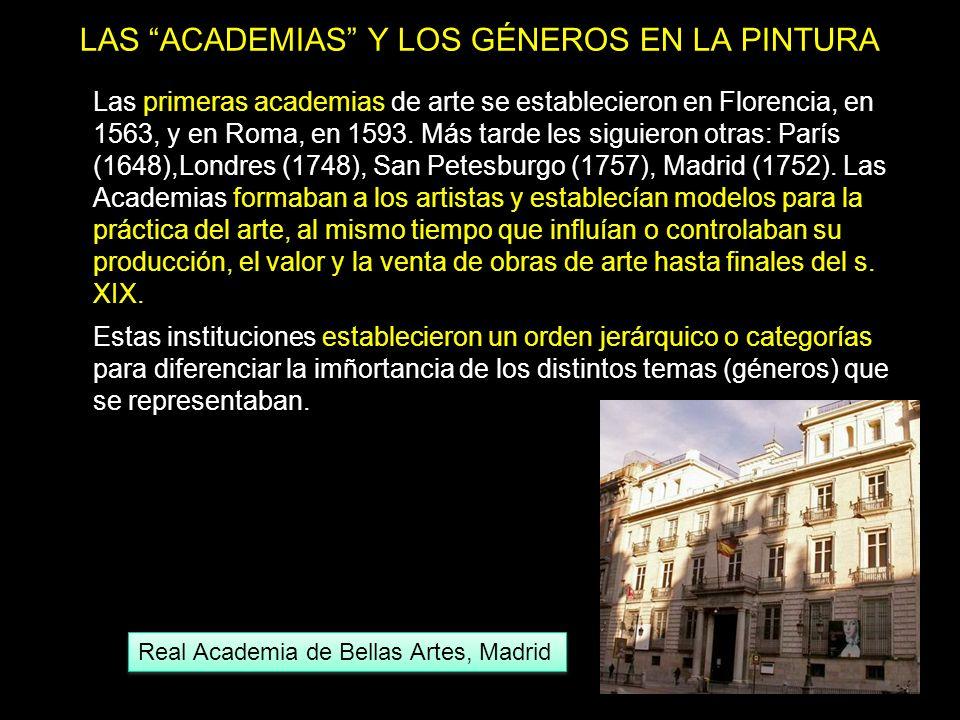 LAS ACADEMIAS Y LOS GÉNEROS EN LA PINTURA Las primeras academias de arte se establecieron en Florencia, en 1563, y en Roma, en 1593. Más tarde les sig