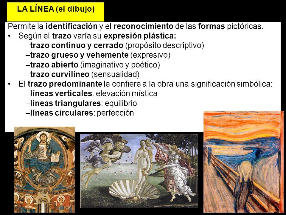 LA LÍNEA (el dibujo) Permite la identificación y el reconocimiento de las formas pictóricas. Según el trazo varía su expresión plástica: –trazo contin