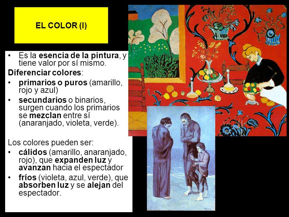 EL COLOR (I) Es la esencia de la pintura, y tiene valor por sí mismo. Diferenciar colores: primarios o puros (amarillo, rojo y azul) secundarios o bin