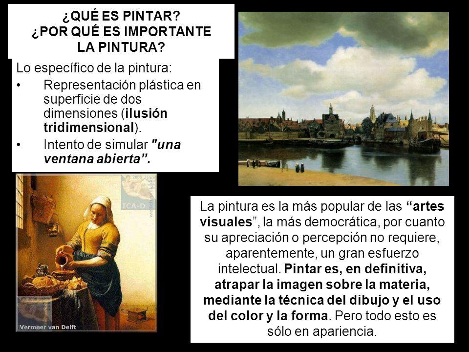 ¿QUÉ ES PINTAR? ¿POR QUÉ ES IMPORTANTE LA PINTURA? Lo específico de la pintura: Representación plástica en superficie de dos dimensiones (ilusión trid