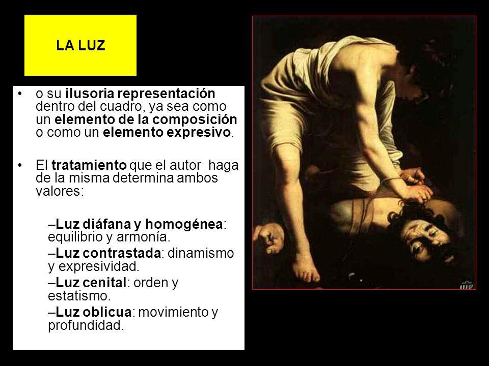LA LUZ o su ilusoria representación dentro del cuadro, ya sea como un elemento de la composición o como un elemento expresivo. El tratamiento que el a