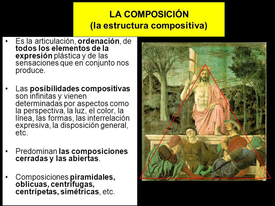 LA COMPOSICIÓN (la estructura compositiva) Es la articulación, ordenación, de todos los elementos de la expresión plástica y de las sensaciones que en