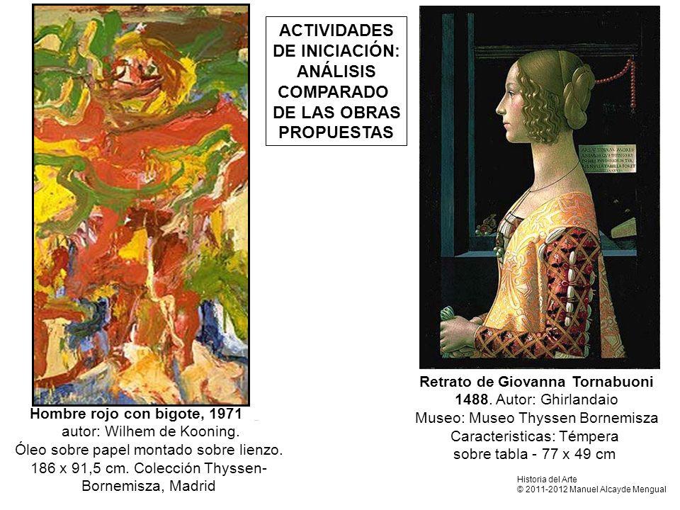 Hombre rojo con bigote, 1971 autor: Wilhem de Kooning. Óleo sobre papel montado sobre lienzo. 186 x 91,5 cm. Colección Thyssen- Bornemisza, Madrid ACT