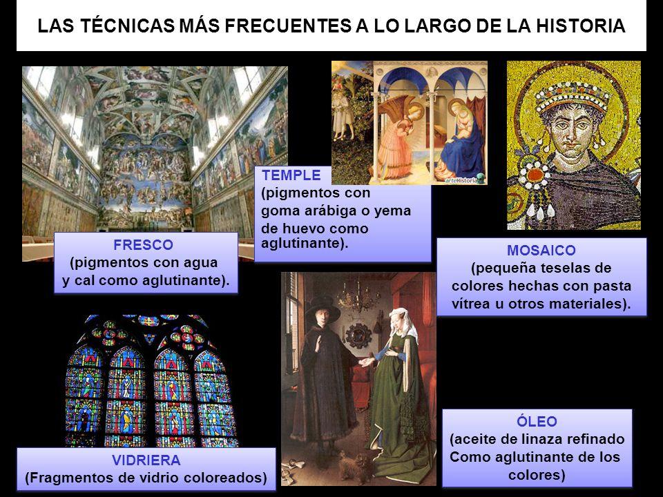 LAS TÉCNICAS MÁS FRECUENTES A LO LARGO DE LA HISTORIA VIDRIERA (Fragmentos de vidrio coloreados) VIDRIERA (Fragmentos de vidrio coloreados) MOSAICO (p