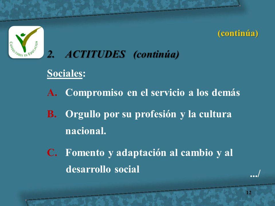 12 2.ACTITUDES (continúa) Sociales: A.Compromiso en el servicio a los demás B.Orgullo por su profesión y la cultura nacional. C.Fomento y adaptación a